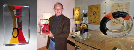 Wolfgang Mussgnug Studioglas in der CCAA GLASGALERIE KÖLN, Glaskunst, Studioglas, Malerei