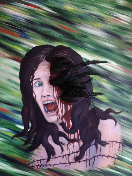 Kopfschmerzen III, 2015, Thorsten Singer, Parasit, Schrei, Frau, Gemälde
