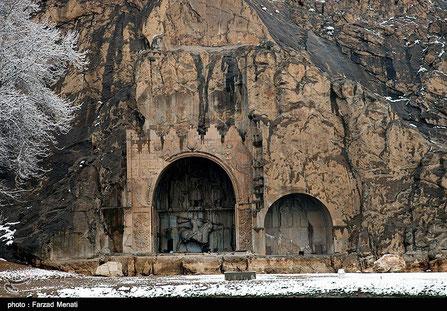 Bisotun, Behistun, Behistan, Bisoetoen, inscriptie in spijkerschrift,  reliëfs in een rotswand