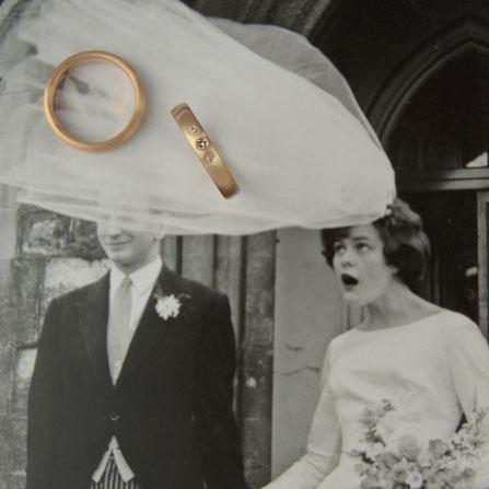 Trauringe mit Brillanten, Diamanten, Diamantschmuck, Brautschmuck, Goldringe, Roségold, Rosé Ringe, Ringe für's Leben, Ehering