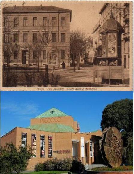 Nella foto sopra com'era (Scuola Schiaparelli) e com'è oggi (Piccolo Teatro Strehler)