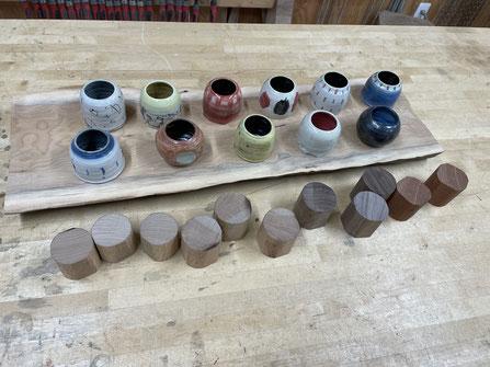 器に合わせて蓋の材の選定とカット。FUTAMONO-YA、陶芸家森下真吾と家具工房ZEROSSOの木工作家清水泰とのコラボレーションブランド。