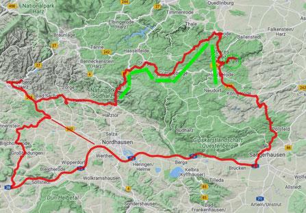 250 km Strecke incl. Umleitungen, 6 Stunden unterwegs am 31.3.2021 (Ziel...Selketal)