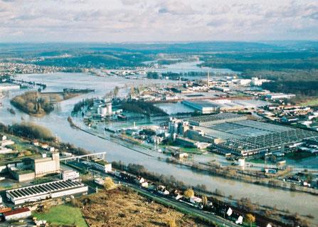 Confluence Oise Aisne, crue de décembre 1993. Photo C. Schryve