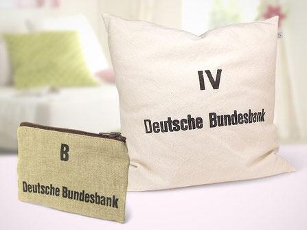 Jute-Tasche und Baumwollkissen aus ehemaligen Geldsäcken der Deutschen Bundesbank von himmelrosa