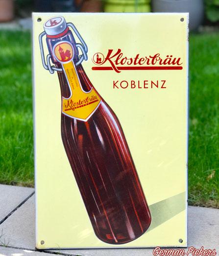 Klosterbrauerei Koblenz  - Emailschild  Deutschland um 1940  C. Robert Dold Offenburg, 48 x 31 cm