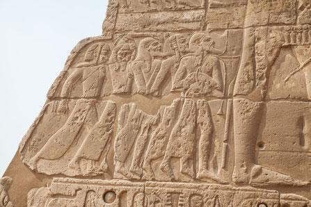 Darstellung der besiegten Seevölker am Tempel von Medinet Habu. Klaus Schindl/Erlebnis Archäologie