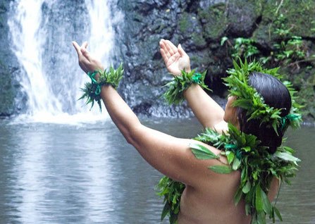 Hawaiian man standing in a waterfall pond offering creative wisdom to the sky in thanks.