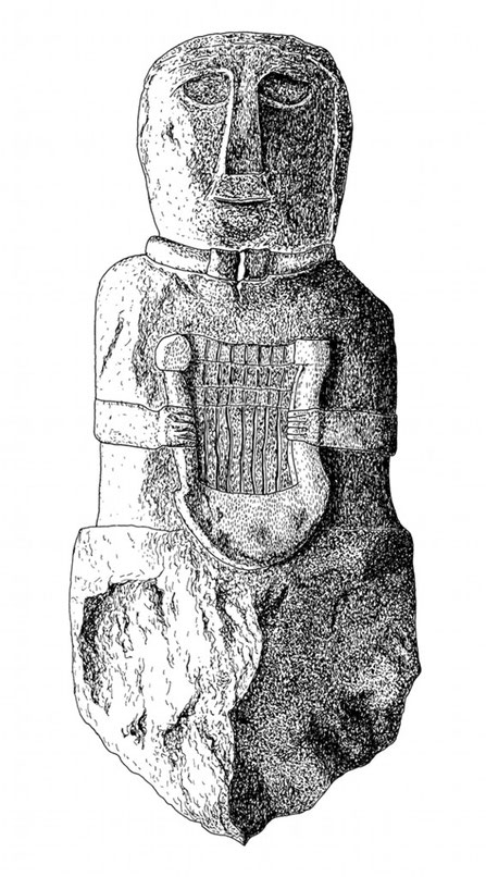 Statue eines Barden mit Lyra, Archäologische Ausgrabungen von Paule (Côtes-d'Armor), Frankreich, Tusche mit Rapidograph, 20 x 30 cm/Statue of a bard with lyra, Archeologiqual excavations of Paule (Côtes-d'Armor), France, indian ink with rapidograph.