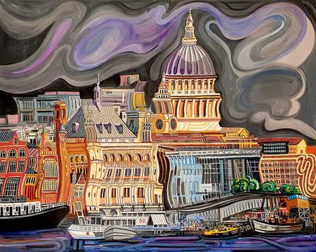 CATEDRAL DE SAN PABLO (LONDON). Oil on canvas. 130 x 160 x 3,5 cm.
