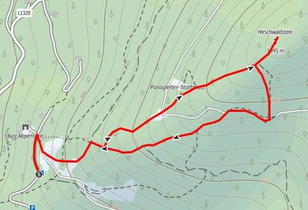 Route von der Burg Altpernstein auf den Hirschwaldstein