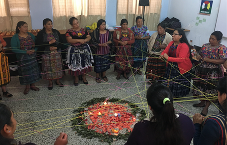 Workshop to re(build) the bonds of solidarity among the participants of the Consejo de los Pueblos Mayas' Women's Council – Kaqchikel (CPO-K) in the Chimaltenango Department. Source: personal archives, July 2019.