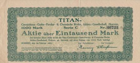 TITAN-Caoutchouc-Gutta-Percha- & Chemische Werke AG Horrem (v. 1923; nur Mantel)