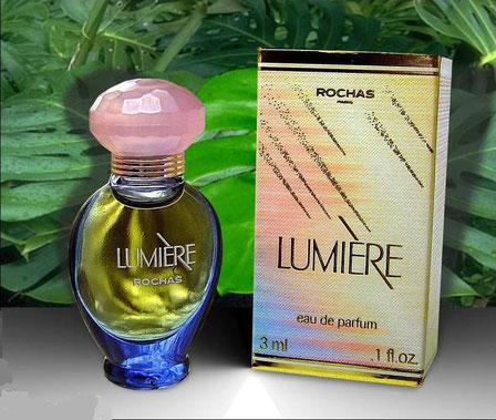 LUMIERE : FLACON AMPHORE BLEU CIEL - EAU DE PARFUM 3 ML - BOUCHON PLASTIQUE ROSE FONCE