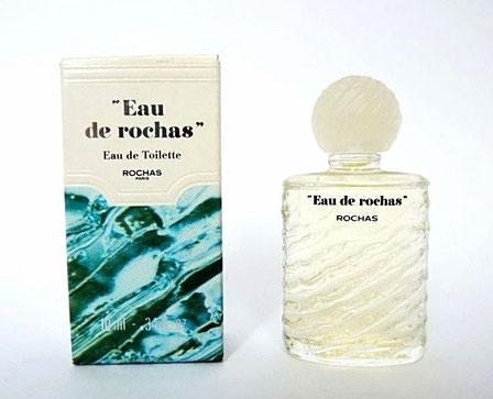 """""""EAU DE ROCHAS"""" ECRIT ENTRE GUILLEMETS : EAU DE TOILETTE 10 ML - BOUCHON PLASTIQUE BLANC"""