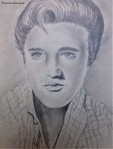 Elvis in jungen Jahren, Bleistift 2019