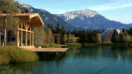 "Chalet village | Previsualization for the event village ""Neuberger Welten"", developed by ICC Dittlmann & Partner"