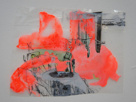 © Joana Fischer, untitled, 2014, ink and acrylic on clear film and plexiglas, 10 x 13 inches