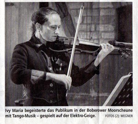 Konzert in Boberow - Märkische Allgemeine Zeitung 10.Januar 2012