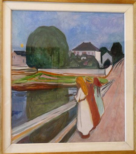 Edvard Munch (1863-1944) : nuit blanche - Osgardstran (filles sur le pont)