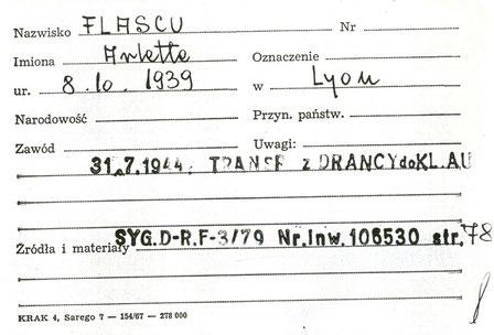 Cette fiche est la seule trace qui reste d'Arlette à Auschwitz