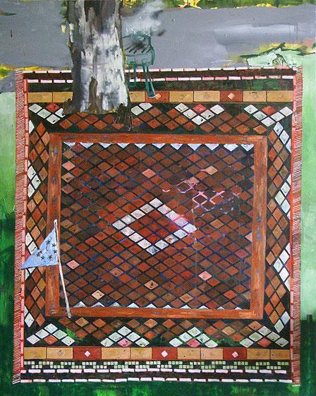 Martin Mohr  Privilegiertes Grillfest  Acryl, Lack und Öl auf Baumwolle   250 x 200 cm
