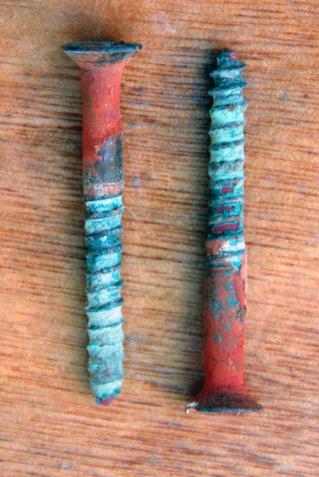 Two copper nails and their colours