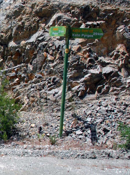 The sign at the top of the Pomos dirt road showing 21km to Pomos