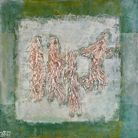 """""""Ancient Ghosts""""; Acryl und Chinapaper auf Leinwand, Relief aus der Reihe """"Touchables""""; 90 x 90 cm"""