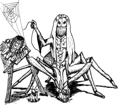 Eine Spinnenfrau, halb Spinne, halb alte Frau mit weißem, seidigen Haar. Sie hat braune Haut und ein gold- und silberbesticktes Samtkleid. Um sie herum sind Weberknechte mit ihren seidigen Botschaften.