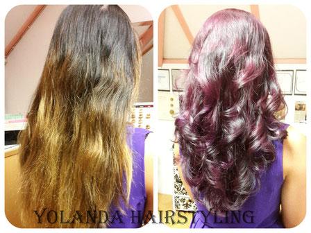 Ngan van zwart met goudblonde balayage naar violet/purple
