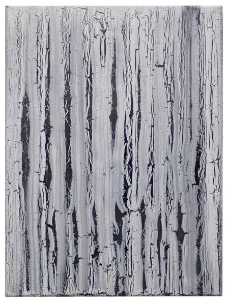 Found small's (Linie) / 2018 / Öl / Lack / Baumwolle / 39 x 29 cm