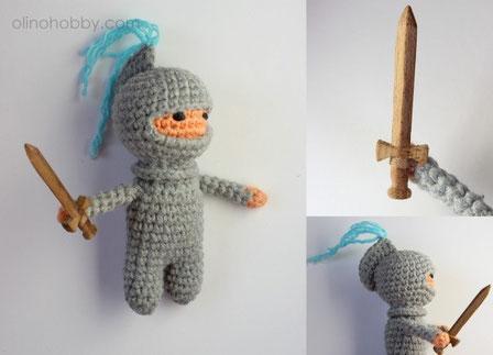 вязаный рыцарь, кукла амигуруми