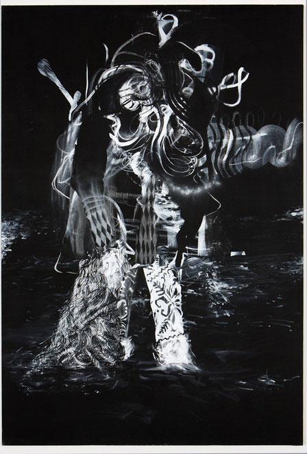 Untitled-Pastel, pigment on canvas-     -2013-     -190x130cm