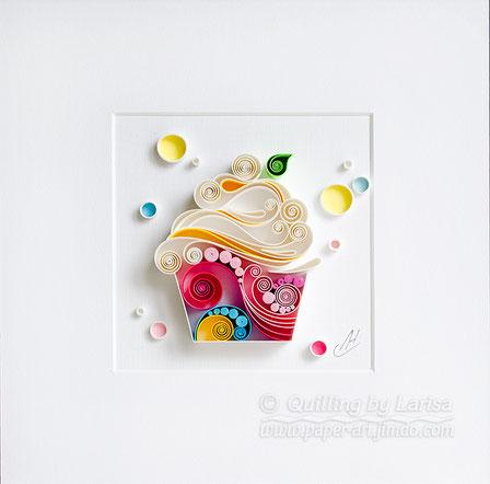 quilling , quilling paper, cupcake, paper cupcake, have a nice day, good mood , tea, cup of tea, quilling gift, paper art, art, tea art, paper coffee art, etsy, larissa zasadna, design,  quilling art, quilling paper art