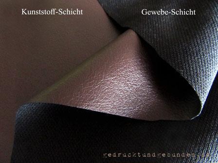 Kunstleder Lederimitat Verbund Gewebeschicht mit Kunststoffschicht