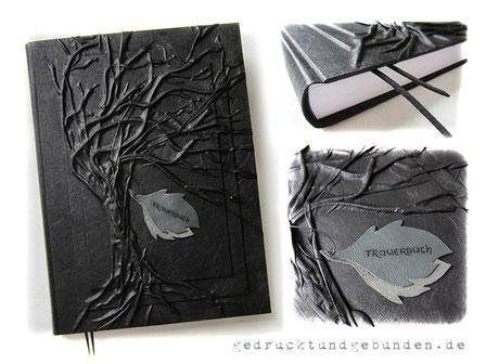 A3 Buch, 300 Seiten weiß, Hardcover Hochrelief Baum, Bucheinbandmaterial Stoff schwarz, Blatt-Applikation grau Beschriftung schwarz