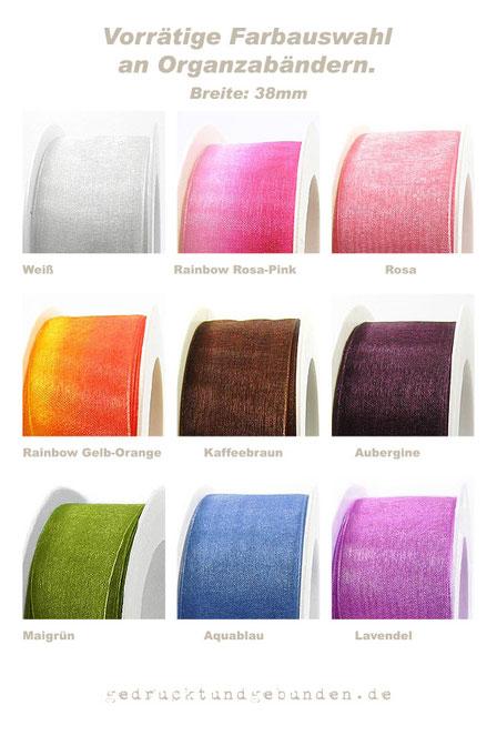 Vorrätige Farbauswahl Organzabänder 38mm breit