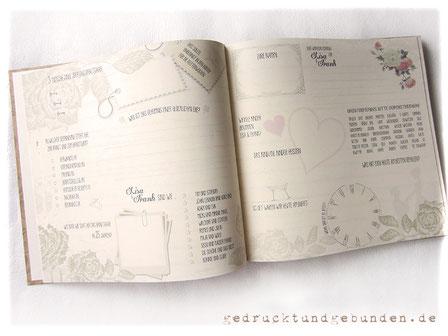Individueller Gästefragebogen Vintage-Hochzeit Doppelseite gesetzt gedruckt gebunden