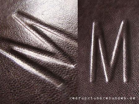 Lederbucheinband dunkelbraun Lammleder geschärft für Relief tiefliegend ähnlich einer Prägung