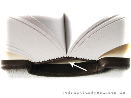 Buchblock Fadenheftung, gerundet mit Hülse