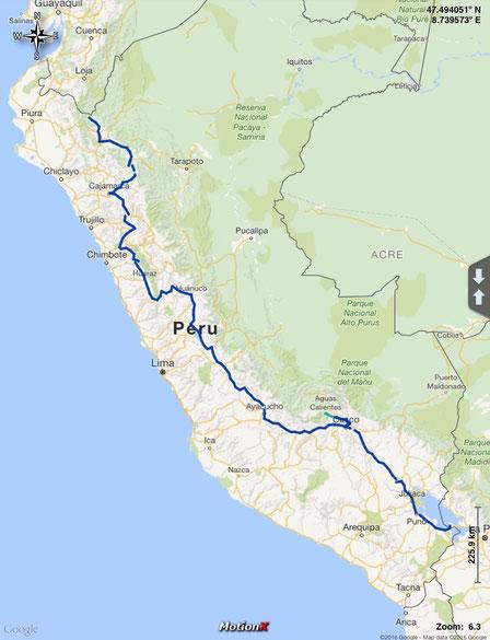 unsere gefahrene Strecke durch Peru