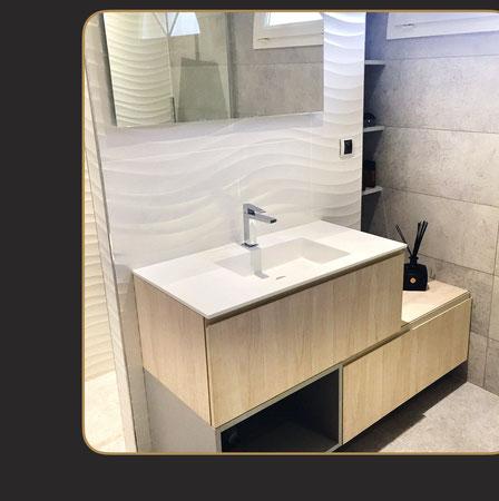 salle de bain Porcelanosa, carrelage blanc texture