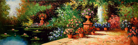 Cuadro de un patio con macetas de flores y un estanque