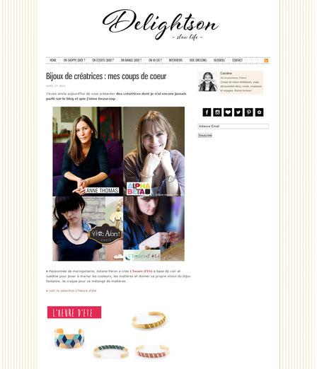 L'heure d'été fait partie des créatrices coup de coeur du blog Delightson en juin 2013