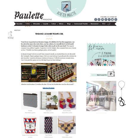 """Les b.o. et le sautoir Damier sont dans l'article """"Tendance Damier"""" sur le blog Paulette en mai 2013"""