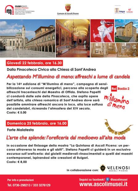 Eventi del 22 e 25 Febbraio nei Musei Civici di Ascoli Piceno