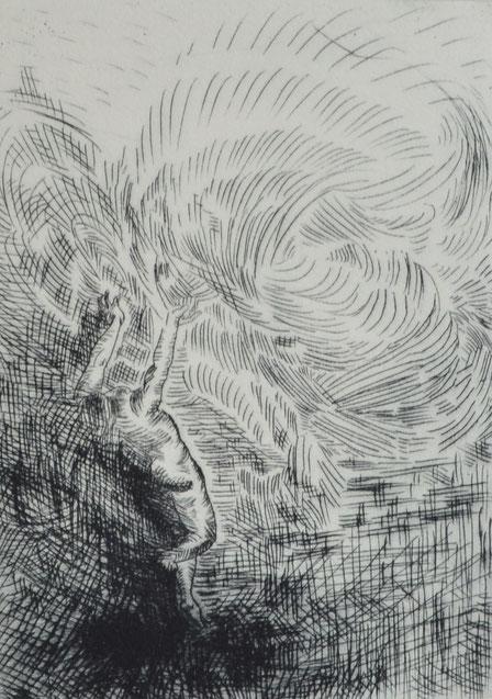 Verklingen • 2019 • Kaltnadelradierung • Engraving print on paper • 39 x 26,5 cm