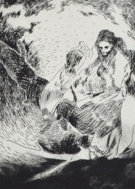 Spiegeln • 2019 • Kaltnadelradierung • Engraving print on paper • 39 x 26,5 cm
