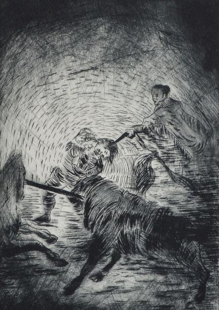Verdannen • 2019 • Kaltnadelradierung • Engraving print on paper • 39 x 26,5 cm